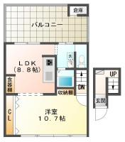 佐古七番町 マンション 1LDK間取り図