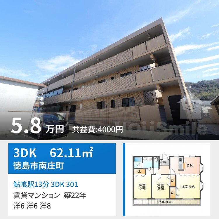 鮎喰駅13分 3DK 301