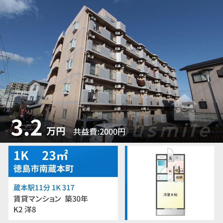 蔵本駅11分 1K 317