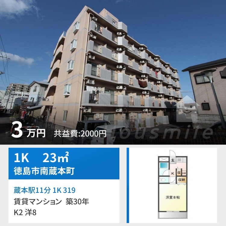 蔵本駅11分 1K 319