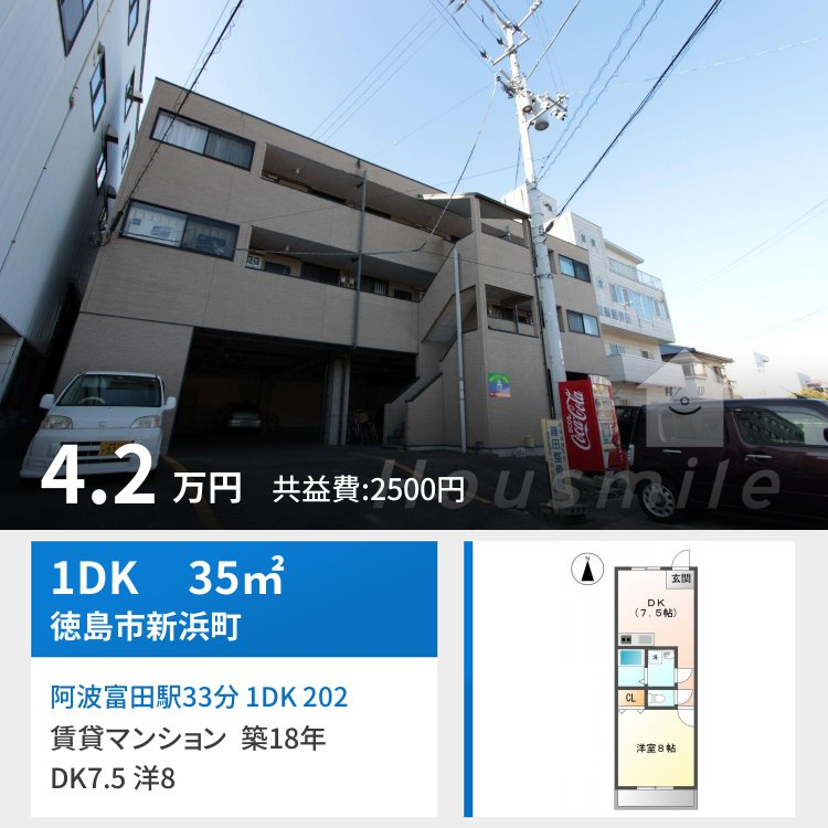 阿波富田駅33分 1DK 202