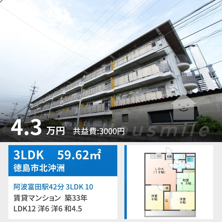 阿波富田駅42分 3LDK 106