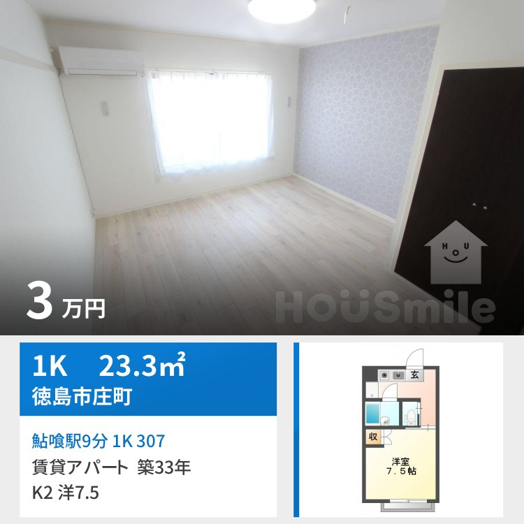 鮎喰駅9分 1K 307