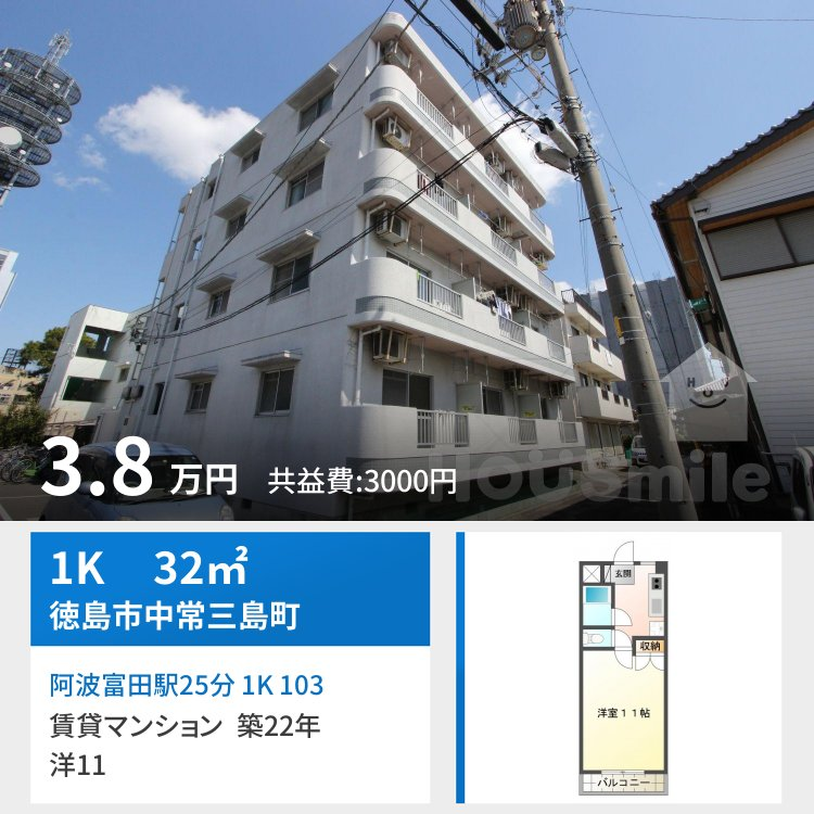 阿波富田駅25分 1K 103