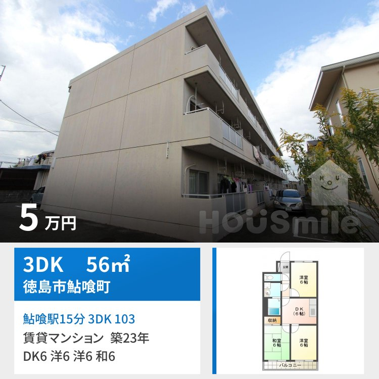 鮎喰駅15分 3DK 103
